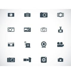 black camera icons set vector image