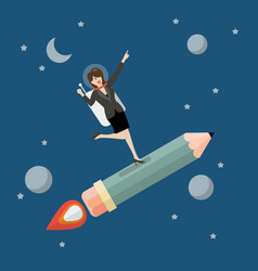 business woman astronaut on pencil rocket vector image