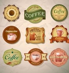 Set of vintage decorative coffee labels vector image
