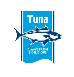 Atlantic bluefin tuna fish icon for seafood design vector image