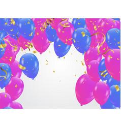 blue pink balloons confetti concept design vector image