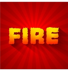 Fire text on a red background concept design vector image