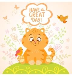 kitten and birds vector image vector image