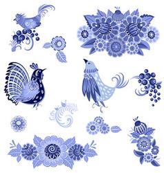 monochrome collection of fancy decorative birds vector image