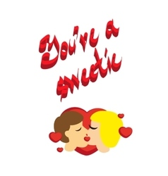 Sweet couple kisses you sweet print vector image