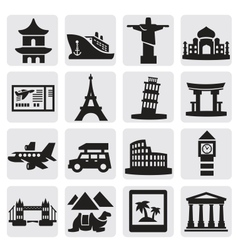 travel and landmarks set vector image vector image