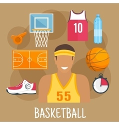 Basketball guard flat icon for ball sports design vector