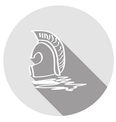 icon ancient helmet with a long shadow vector image
