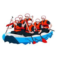 Rafting team vector image