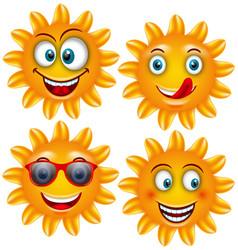 set smiling sun cartoon characters vector image vector image