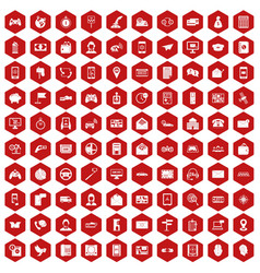 100 telephone icons hexagon red vector