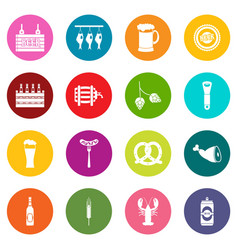 beer icons many colors set vector image vector image