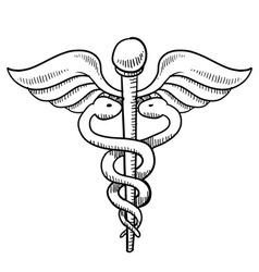 doodle caduceus medical symbol vector image vector image