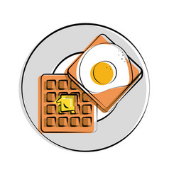 Fried egg waffle with butter melting on it food vector