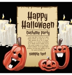 Pumpkins and white candles with card fot text vector image vector image