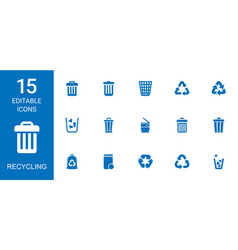 15 recycling icons vector
