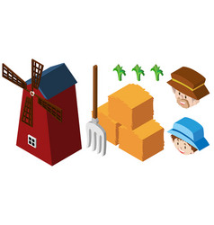 3d design for farmers and windmill vector