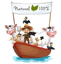 A farmer on a boat with his animals vector image