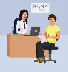 bank service female manager vector image
