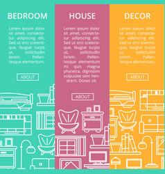 bedroom furniture renovation flyers set vector image