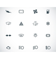Black car dashboard icons set vector
