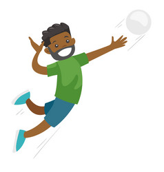 black sportsman playing volleyball vector image
