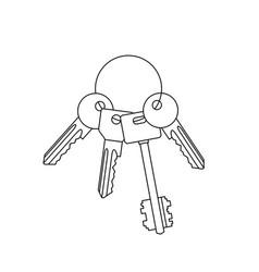 bunch keys line drawing vector image