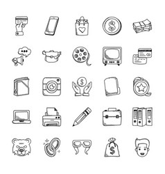 business doodle icons set vector image