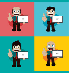 businessman manager at work holding laptop vector image