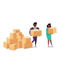 Cardboard boxes concept with characters business vector