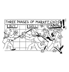 cartoon stock market cycles and phases vector image