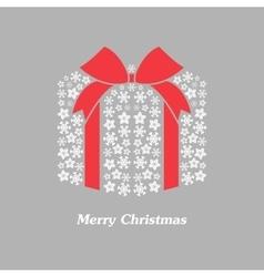 Christmas gift box with white snowflake vector