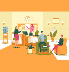 Company reception or waiting room with visitors vector