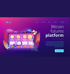 cryptocurrency trading desk concept landing page vector image