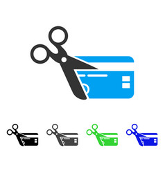 Cut credit card flat icon vector