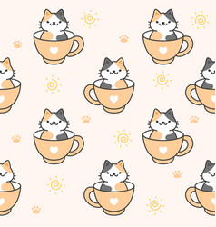 cute cat in a cup coffee seamless pattern vector image