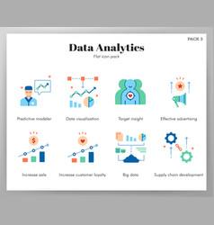 Data analytics icons flat pack vector