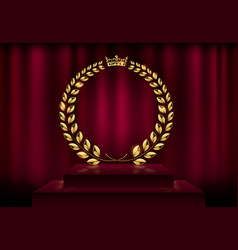 Detailed round golden laurel wreath crown award on vector