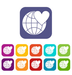 Earth world globe with heart icons set vector