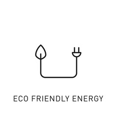Eco friendly energy electrical plug thin line icon vector