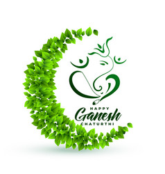 Ecofriendly lord ganesha leaves background vector
