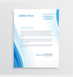 Elegant blue letterhead design template with wavy vector