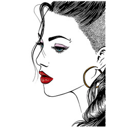 Face of a model with long black hair vector
