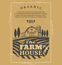 Farm house with field old retro poster vector