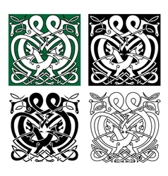Fighting dragons with celtic knot ornaments vector image