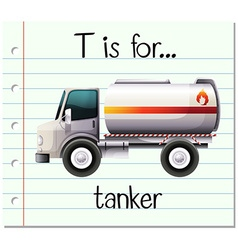 Flashcard letter T is for tanker vector