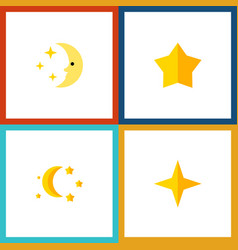 Flat icon night set of bedtime star nighttime vector