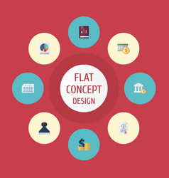Flat icons act deadline pie bar and other vector