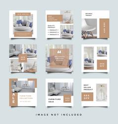Furniture social media promotion design collection vector