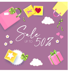gift boxes and bags cute sale and special offer vector image